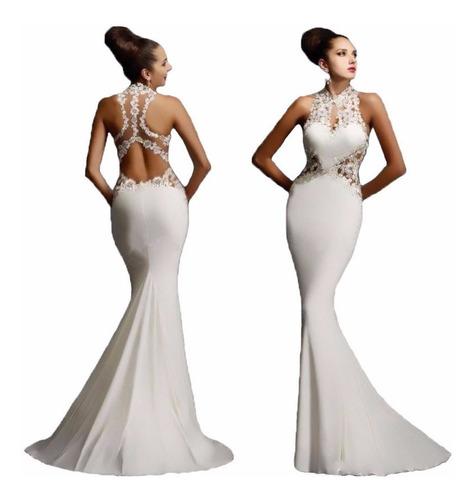 Vestido Largo Escote En Espalda Elegante Formal Fiesta //