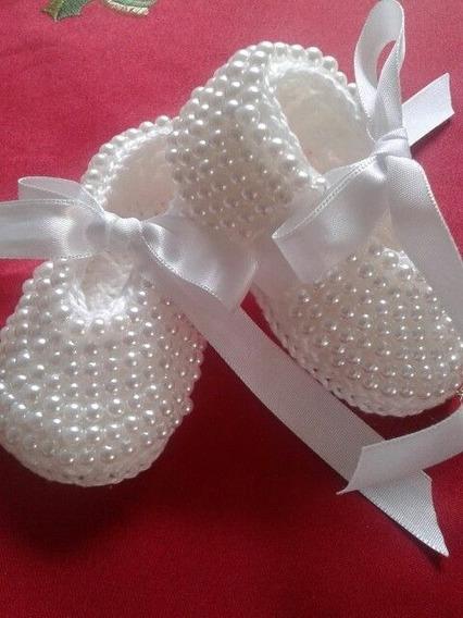 Zapatos Con Perlas Para Bebe