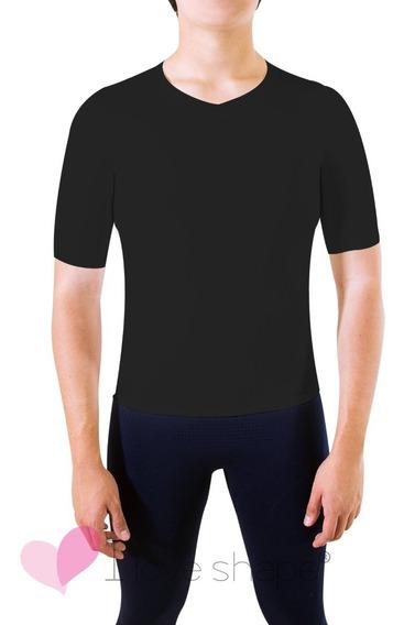 Camiseta Faja Sin Costuras Hombre Cuello V C/manga M4005