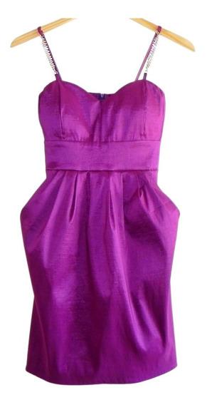 Vestido De Fiesta Con Strass En Breteles (nuevo!) #roa