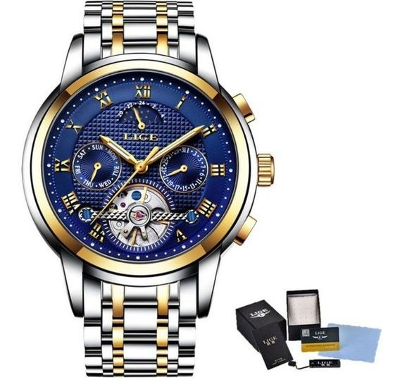 Relógio Automático Tourbillion Gold Luxo Legítimo Lige 3bar