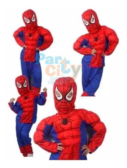 Disfraz Hombre Araña Musculoso Cotillón Cumpleaños Infantil