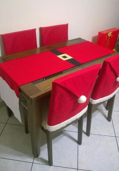 Kit 1 Caminho De Mesa Mais 4 Capas De Cadeiras Em Feltro