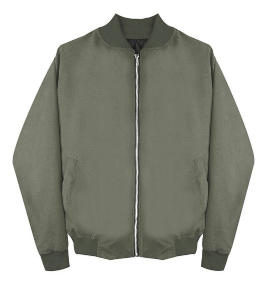 Chamarra Bomber Jacket Con Cierre Verde Opaco Moda