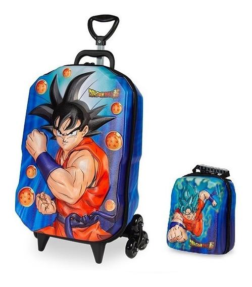 Mochila Escolar Dragon Ball Super 3d Com Rodinhas