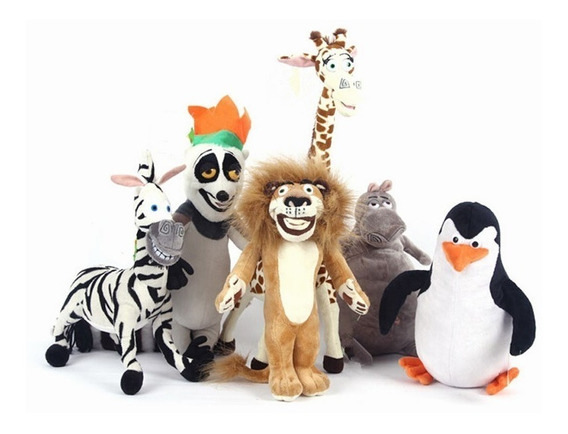 Kit Pelúcia Madagascar Com 6 Personagens De Alta Qualidade
