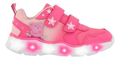 Zapatillas Peppa Pig Doble Abrojo Con Luz- Footy Oficial
