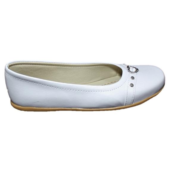 Balerina Chatita Guillermina Zapato Niña Mujer Comunion Color Blanca Con Corazon