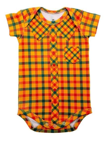 Body Bebê Com Estampa De Camisa Xadrez Laranja - Isabb