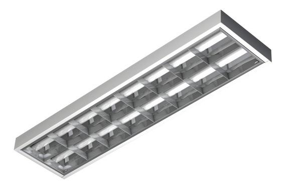 Luminária Calha Comercial C/2 Lâmpadas Led 18w T8 Bivolt
