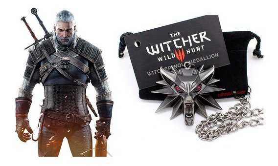 Medalhão The Witcher 3 Pingente Lobo Olhos Vermelhos