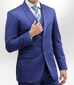 Terno Slim Fit Azul Royal Via Santony Collection Na Gazbu
