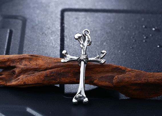 Crucifixo De Ossos - Esqueleto - Ossos - Cruz - Pingente Aço
