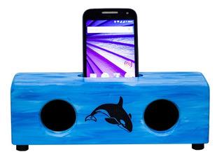 Caixa Som Amplificador Acústico Suporte Para Celular Blue