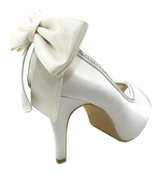 Zapatos De Novia - Zapato De Raso Con Moño
