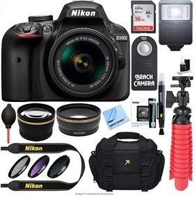 Kit Nikon D3400 + Nikkor 18-55 Mm + Filtros + Bolsa + Flash
