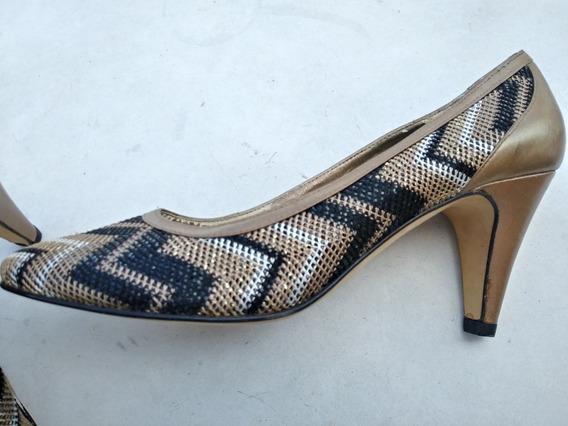 Zapatos Mujer Tacos Stilettos Diseño 40 Eco Cobre Negro