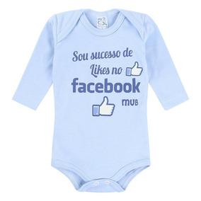 Body Suedine Manga Longa Facebook Menino Azul Mub