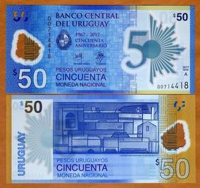 Uruguai 50 Pesos Uruguaios 2017 P. New Fe Polímero Tchequito