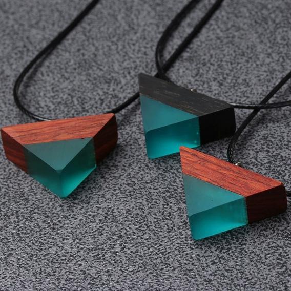 Dije Resina Madera Natural Triangulo Piramide +regalo Cadena