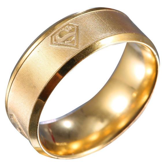 Anel De Titanio Superman Cor Ouro ( 17,2mm ) Nº 14