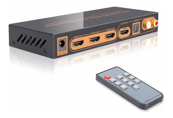4 K/60 Hz Hdmi Switch Extractor Divisor De Áudio Com Remoto
