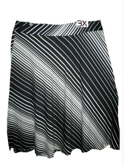 Falda Negra Blanca De Rayas Talla 3x , Jaclyn Smith