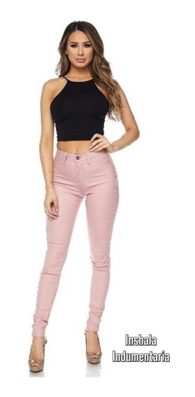 Pantalon Engomado Mujer Ecocuero Boton Y Cierre Elastizado