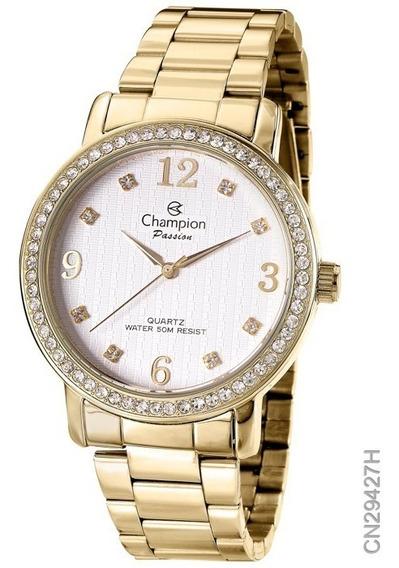 Relógio Feminino Champion Dourado Original Folhado Ouro 18k