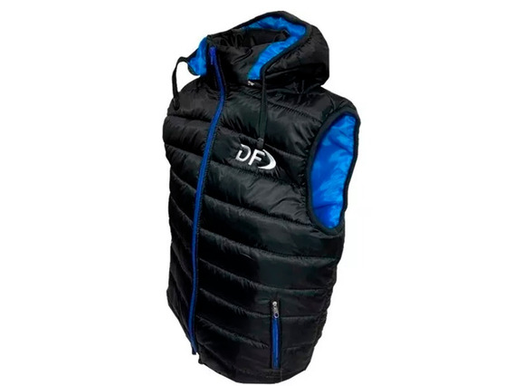 Chaleco Inflable Hombre Df Capucha Desmontable Negro / Azul