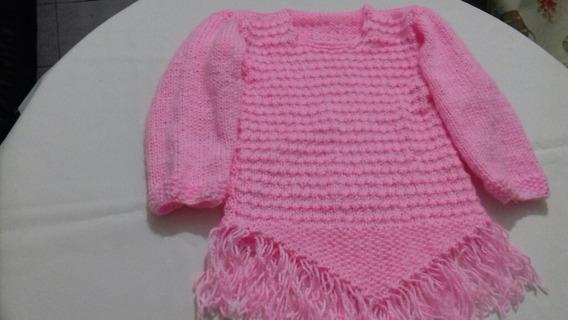 Sweter Estilo Poncho Nuevo Tejido A Mano (artesanal)