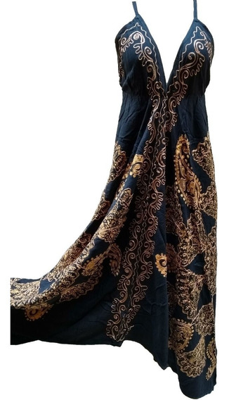 Vestido Indiano Batik De Ponta Assimétrico Longo Alça