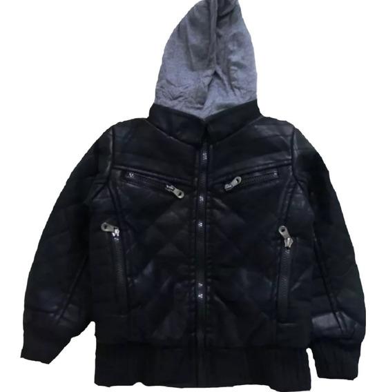 Jaqueta De Couro Infantil Masculina Com Capuz Forrada Frio