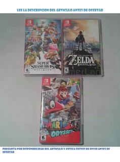 Juegos Nintendo Switch Mario Odyssey, Smash Ultimate, Zelda