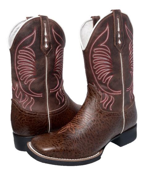 Bota Masculina Texana Bico Quadrado Cano Longo Em Couro