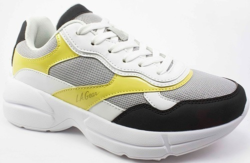 Tenis Plateados Dama La Gear Lm 4601 Lt Gray White Yellow