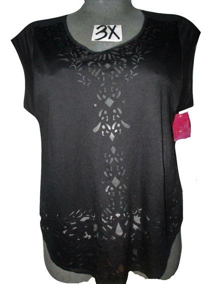 Blusa Negra Figuras Al Frente Talla 3x (42/44) Pure Energy