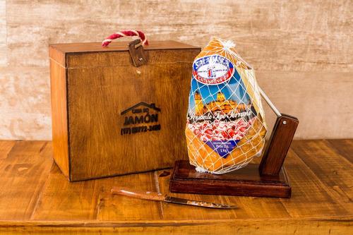 Kit Premium  - Mini Jamón  ( 1kg ) + Suporte Madeira + Faca