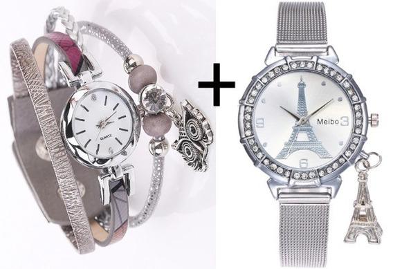 Kit 2 Relógios De Pulso Feminino Social Fashion Casual