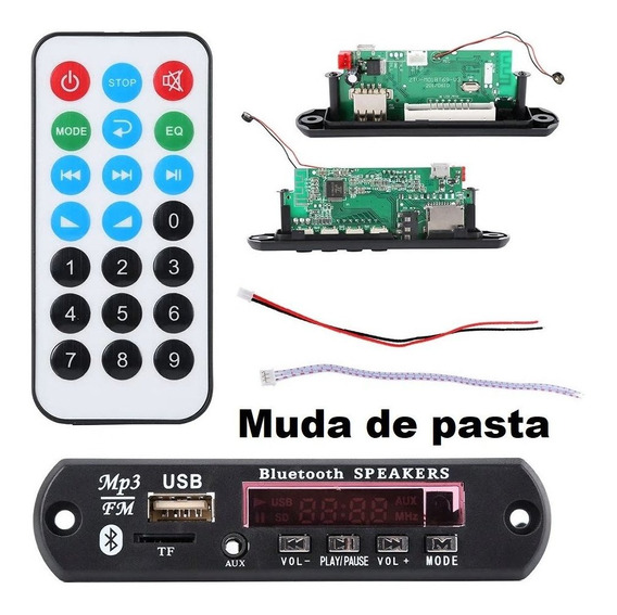 1 Decodificador Bluetooth 5.0 Mp3 Fm Muda De Pasta