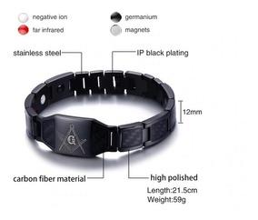 Pulseira Eletromagnetica Preta Bracelete Ima Inox Maçonaria