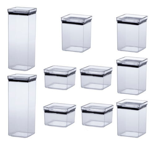 Kit 10 Potes Herméticos Quad. 480/1000/2200ml Empilháveis
