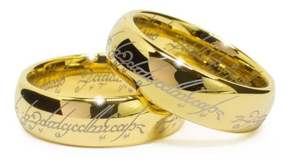 Alianças Senhor Dos Anéis- O Par- Banhada A Ouro 18k - Promoção