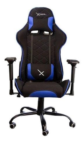 Imagen 1 de 4 de Silla de escritorio Xzeal XZ25 gamer ergonómica  negra y azul con tapizado de tela