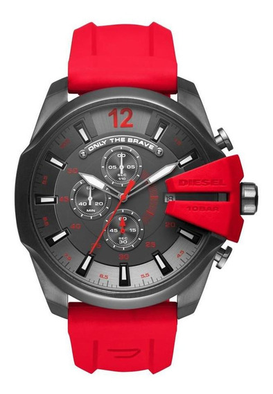 Relógio Masculino Diesel Mega Chief Dz4427/8rn 53mm Vermelho