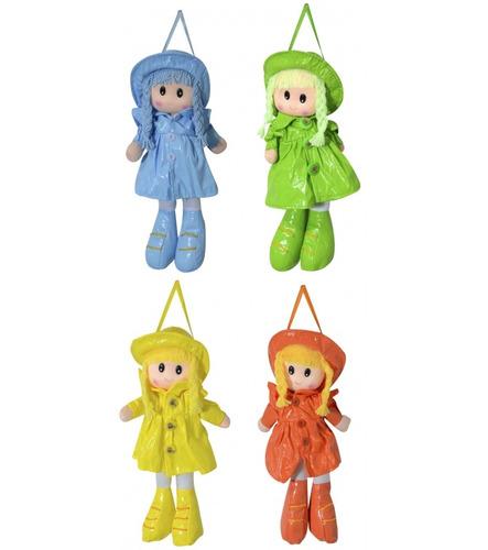Muñeca De Trapo 26cm. Vestida De Lluvia