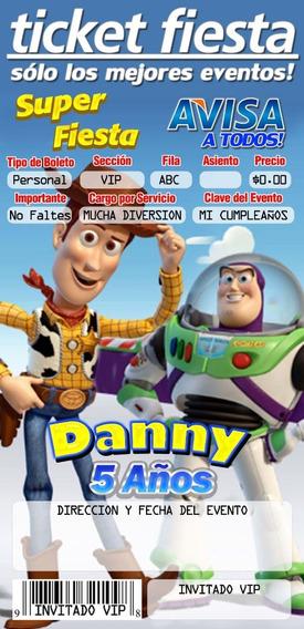 Invitación Tipo Ticketmaster Toy Story