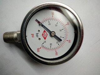 Manometro 0-1000 Psi, Dial 2 1/2 , Totalmente Acero Inox