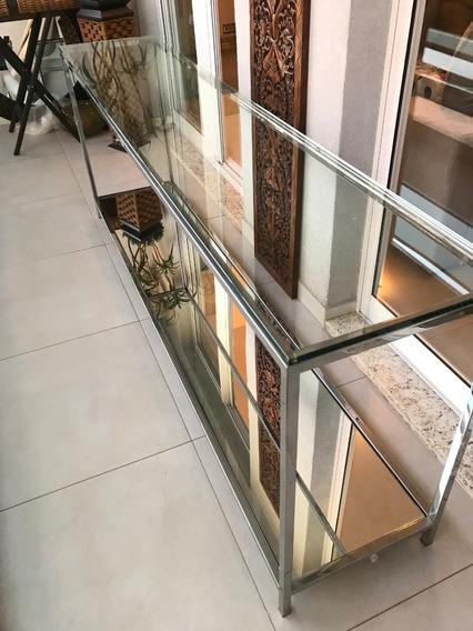 Lindo Aparador Em Aço Inox , Vidros E Espelhos Marca Breton