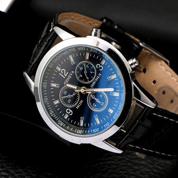 Relógio Luxo Masculino Geneva Prc 200 Preto | Frete Nordeste